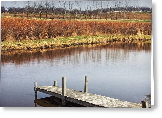 Randy Greeting Cards - Boat dock on a Pond in South West Michigan Greeting Card by Randall Nyhof