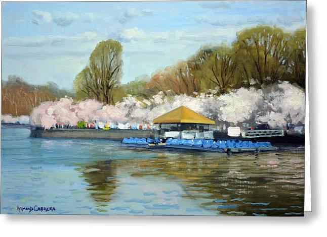 Boat Dock Spring - Washington Dc Greeting Card by Armand Cabrera