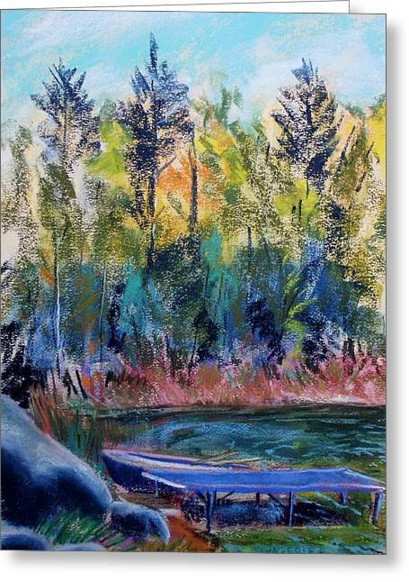 Docked Boats Pastels Greeting Cards - Boat Dock Greeting Card by Tim  Swagerle