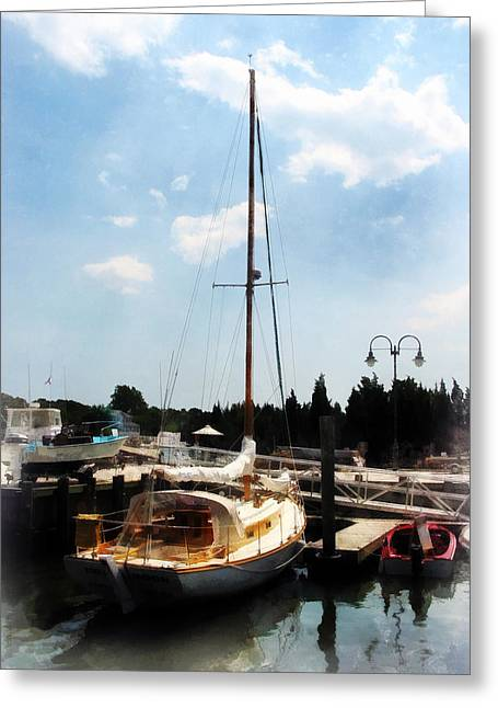 Boat Greeting Cards - Boat - Docked Cabin Cruiser Greeting Card by Susan Savad