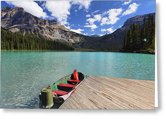 British Columbia Greeting Cards - Boat Docked on Emerald Lake Greeting Card by George Oze