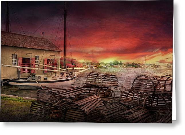Boat - End of the season  Greeting Card by Mike Savad