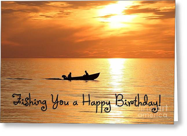 Sunset Greeting Cards Greeting Cards - Boat Fishing Birthday Greeting Card by JH Designs