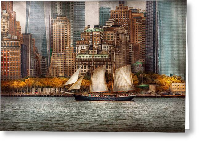 Boat - Governors Island NY - Lower Manhattan Greeting Card by Mike Savad