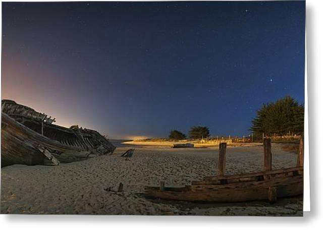 Beach At Night Greeting Cards - Boat graveyard at yard, France Greeting Card by Science Photo Library