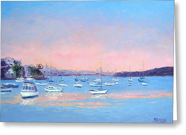 Schooner Paintings Greeting Cards - Boat Haven at Manly Cove Greeting Card by Jan Matson