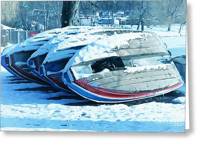 Winter Photos Greeting Cards - Boat Hire on Holiday Greeting Card by Jutta Maria Pusl