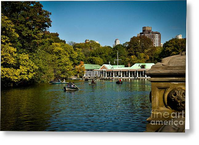Rowboat Greeting Cards - Boat House Central Park New York Greeting Card by Amy Cicconi