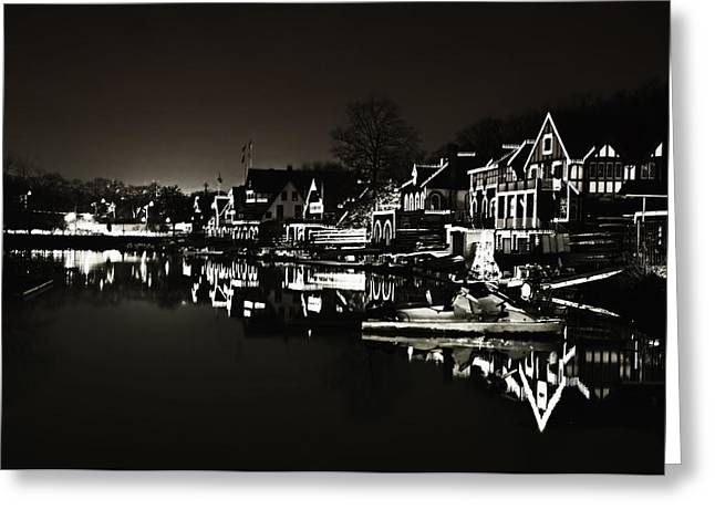 Rowing Crew Greeting Cards - Boat House Row - In the Dark of Night Greeting Card by Bill Cannon