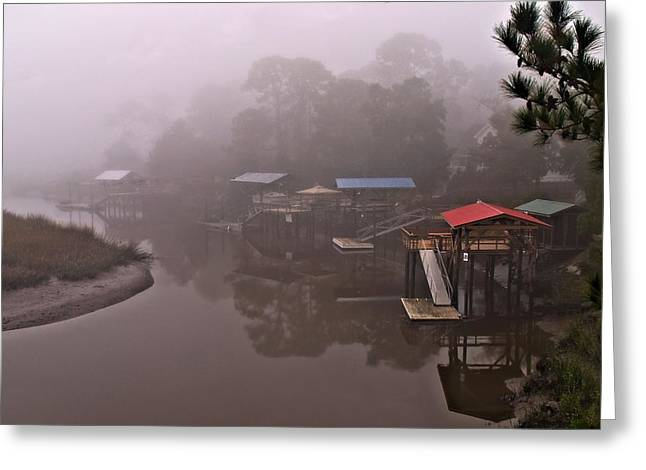 Fishing Creek Greeting Cards - Boat House Row Greeting Card by Laura Ragland
