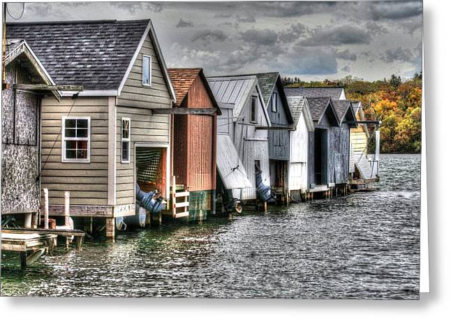 Boat Houses Greeting Card by Michael Allen