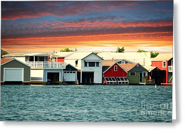 Canandaigua Lake Greeting Cards - Boat Houses on Canandaigua Lake at Sunset Greeting Card by Linda Rae Cuthbertson