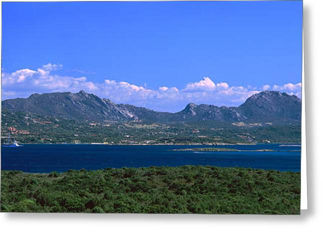 Boat In A Lake, Costa Smeralda Greeting Card by Panoramic Images