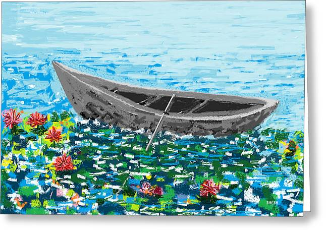 Shesh Tantry Greeting Cards - Boat in a Lotus Pond Greeting Card by Shesh Tantry