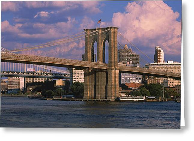 Nautical Vessel Greeting Cards - Boat In A River, Brooklyn Bridge, East Greeting Card by Panoramic Images