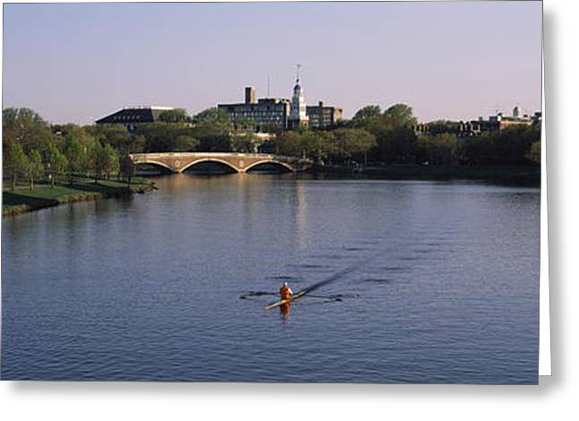 Charles River Greeting Cards - Boat In A River, Charles River, Boston Greeting Card by Panoramic Images