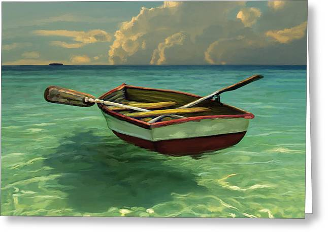Summer Scene Mixed Media Greeting Cards - Boat in Clear Water Greeting Card by David  Van Hulst