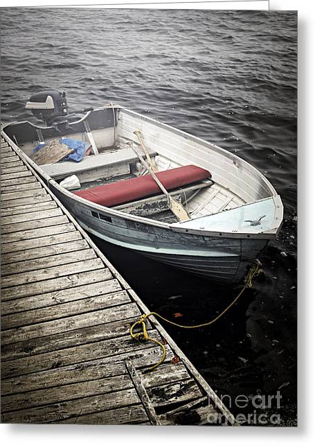 Foggy Ocean Greeting Cards - Boat in fog Greeting Card by Elena Elisseeva