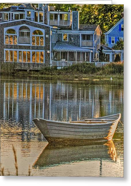 Old Maine Houses Greeting Cards - Boat in Late Afternoon Greeting Card by Phyllis Meinke
