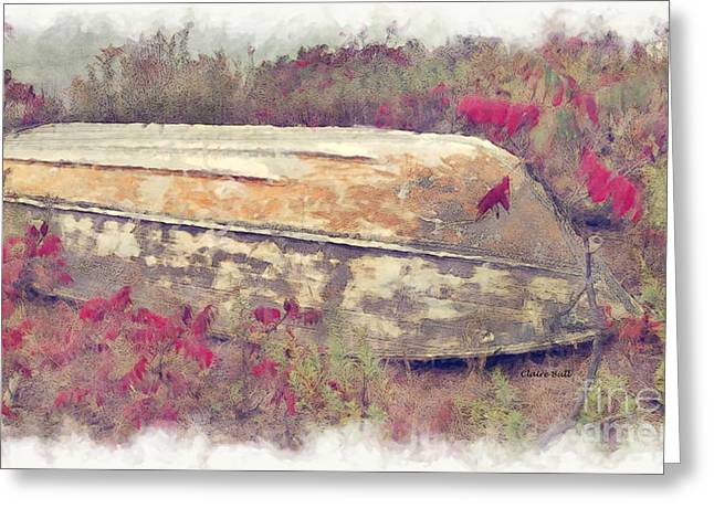 Fishing Boats Greeting Cards - Boat in Sumac Greeting Card by Claire Bull