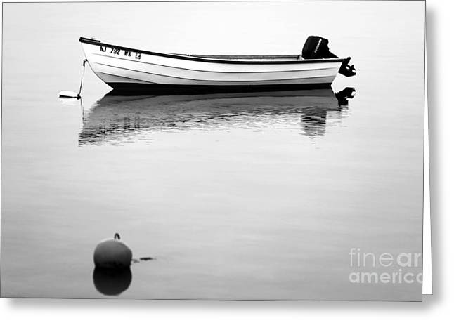 Boats In Water Photographs Greeting Cards - Boat in the Bay bw Greeting Card by John Rizzuto