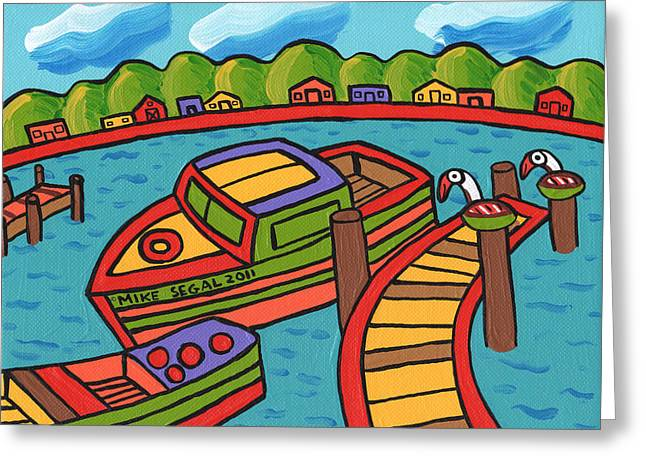 Best Sellers -  - Cedar Key Greeting Cards - Boat In The Bayou - Cedar Key Greeting Card by Mike Segal