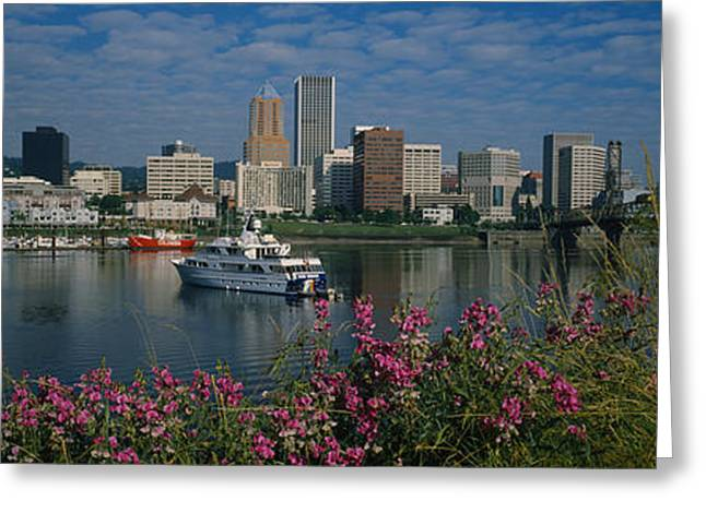 Boats On Water Greeting Cards - Boat In The Sea, Portland, Oregon, Usa Greeting Card by Panoramic Images