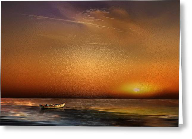 Gloaming Greeting Cards - Boat in the Sunset Greeting Card by Frida  Kaas