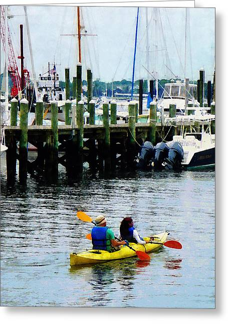 Susan Savad Greeting Cards - Boat - Kayaking in Newport RI Greeting Card by Susan Savad