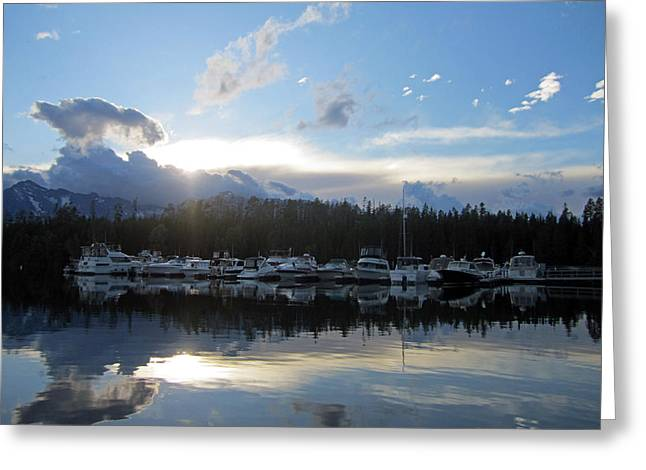 Grand Teton Photographs Greeting Cards - Boat Line Up Greeting Card by Mike Podhorzer
