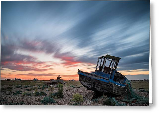 Wooden Building Greeting Cards - Boat long exposure sunset Greeting Card by Matthew Gibson