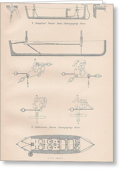Mechanism Drawings Greeting Cards - Boat lowering gear and life boat Greeting Card by Anon
