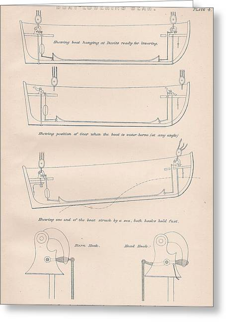 Mechanism Drawings Greeting Cards - Boat Lowering gears plate 4 Greeting Card by Anon