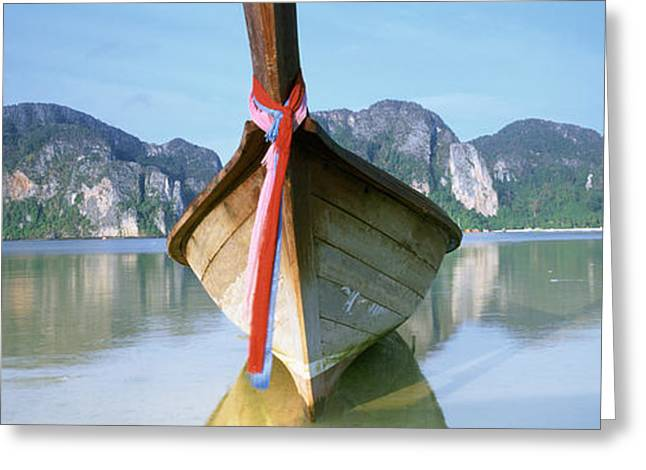 Phi Greeting Cards - Boat Moored In The Water, Phi Phi Greeting Card by Panoramic Images