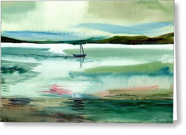 Boat N Creek Greeting Card by Anil Nene