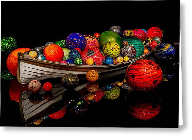 Art Blown Glass Photographs Photographs Photographs Greeting Cards - Boat of Floats Ikebana Greeting Card by Jordan Blackstone