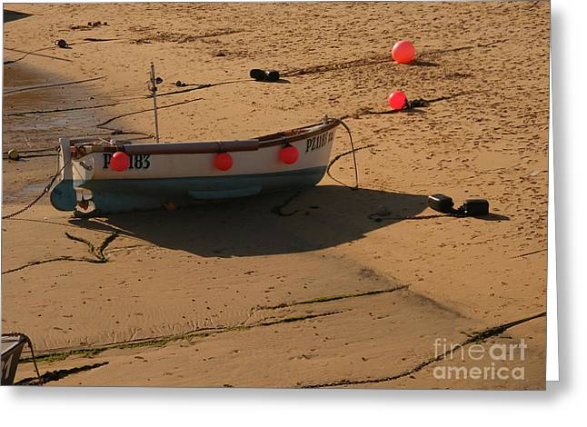 Fog Mist Greeting Cards - Boat on beach 04 Greeting Card by Pixel Chimp