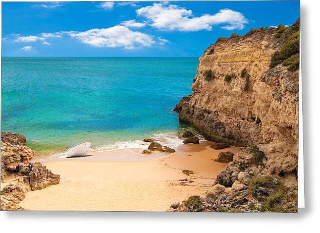 Algarve Greeting Cards - Boat On Beach Algarve Portugal Greeting Card by Amanda And Christopher Elwell