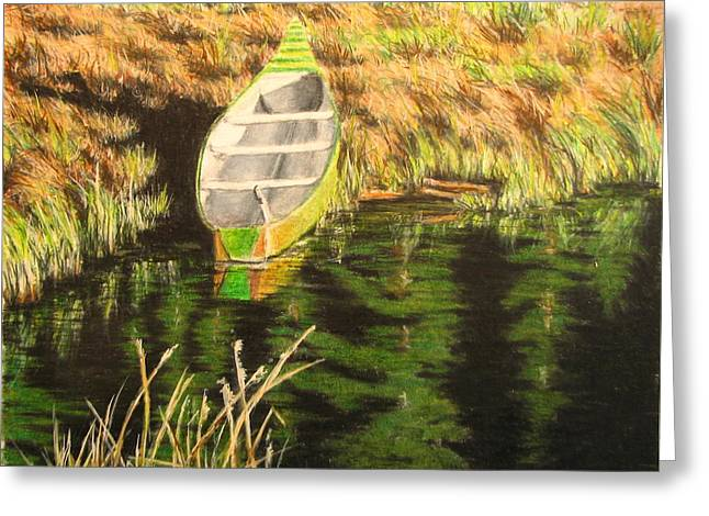 Row Boat Drawings Greeting Cards - Boat on Fawn Lakes Greeting Card by Kenny King