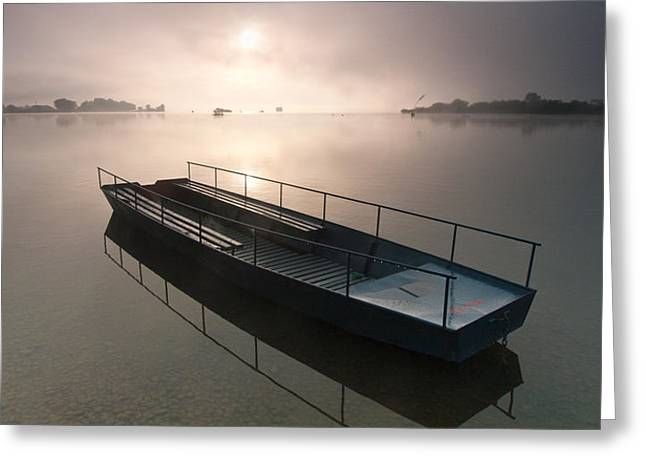 Boat on foggy lake Greeting Card by Davorin Mance