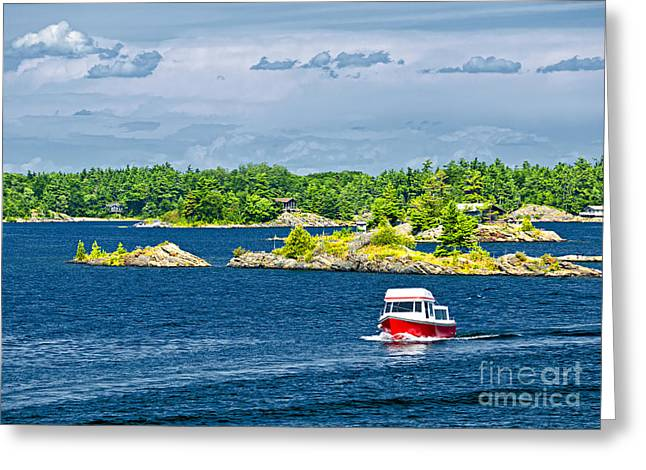 Green Boat Greeting Cards - Boat on Georgian Bay Greeting Card by Elena Elisseeva
