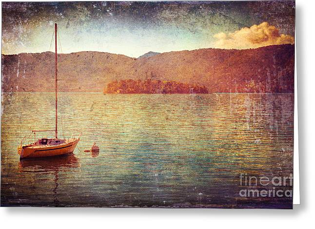 Silvia Ganora Greeting Cards - Boat on Lake Maggiore Greeting Card by Silvia Ganora