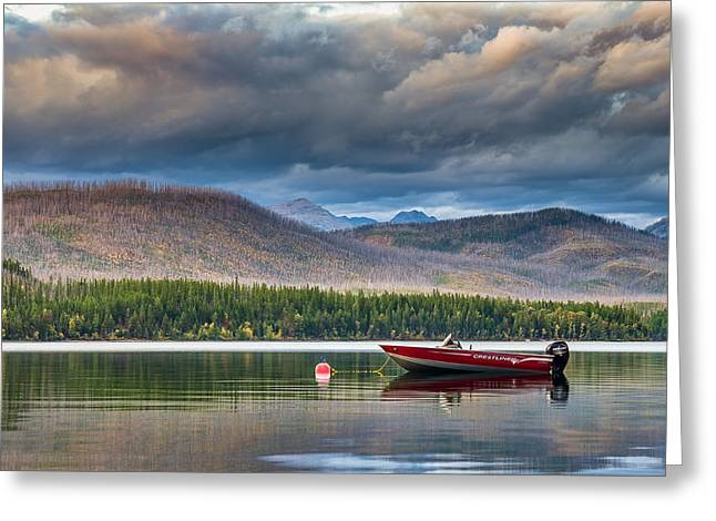 Apgar Greeting Cards - Boat on Lake McDonald Greeting Card by Greg Nyquist