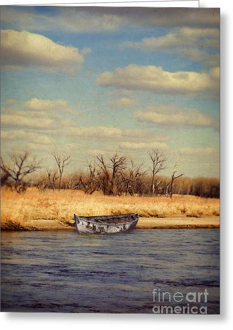 Row Boat Greeting Cards - Boat on River Greeting Card by Jill Battaglia