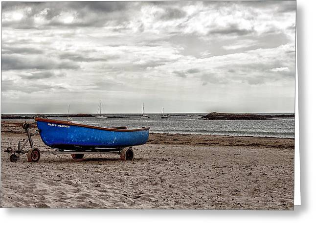 Grey Clouds Greeting Cards - Boat on the beach at Rhosneigr Anglesey Greeting Card by Nomad Art And  Design