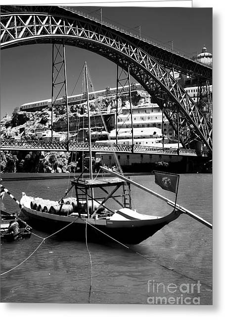 Boats On Water Greeting Cards - Boat on the Douro Greeting Card by John Rizzuto