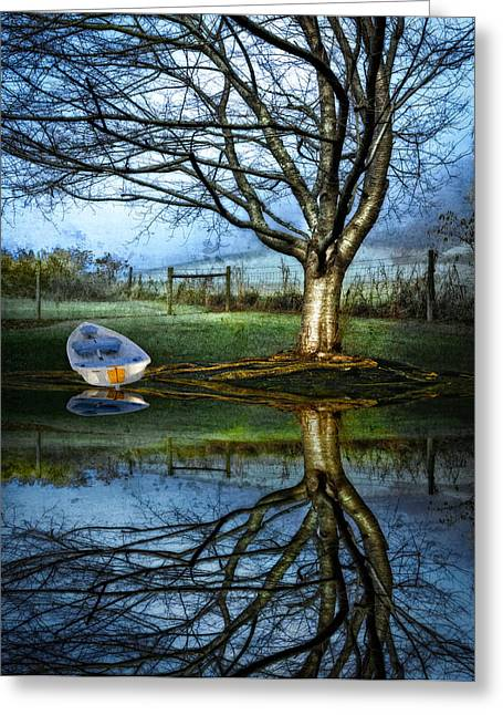 Franklin Tennessee Greeting Cards - Boat on the Lake Greeting Card by Debra and Dave Vanderlaan