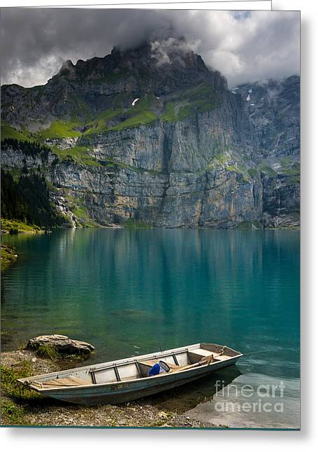 Boat On The Oeschinensee - Swiss Alps  Greeting Card by Gary Whitton