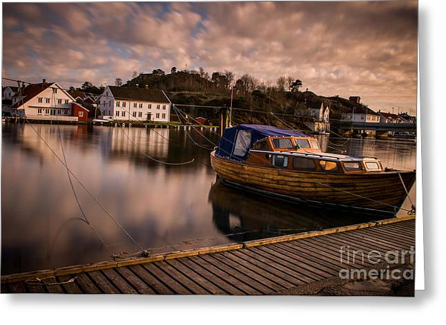 Mandal Greeting Cards - Boat on the river Greeting Card by Mirra Photography