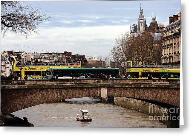 School Bus Print Greeting Cards - Boat on the Seine Greeting Card by John Rizzuto